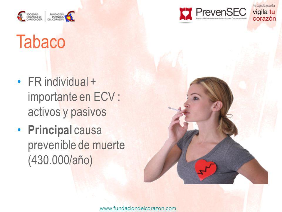 www.fundaciondelcorazon.com FR individual + importante en ECV : activos y pasivos Principal causa prevenible de muerte (430.000/año) Tabaco