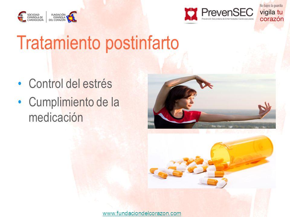 www.fundaciondelcorazon.com Control del estrés Cumplimiento de la medicación Tratamiento postinfarto