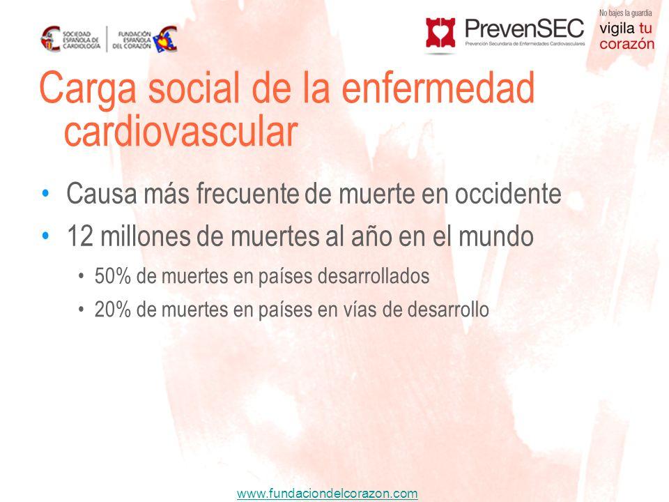 www.fundaciondelcorazon.com Causa más frecuente de muerte en occidente 12 millones de muertes al año en el mundo Carga social de la enfermedad cardiov