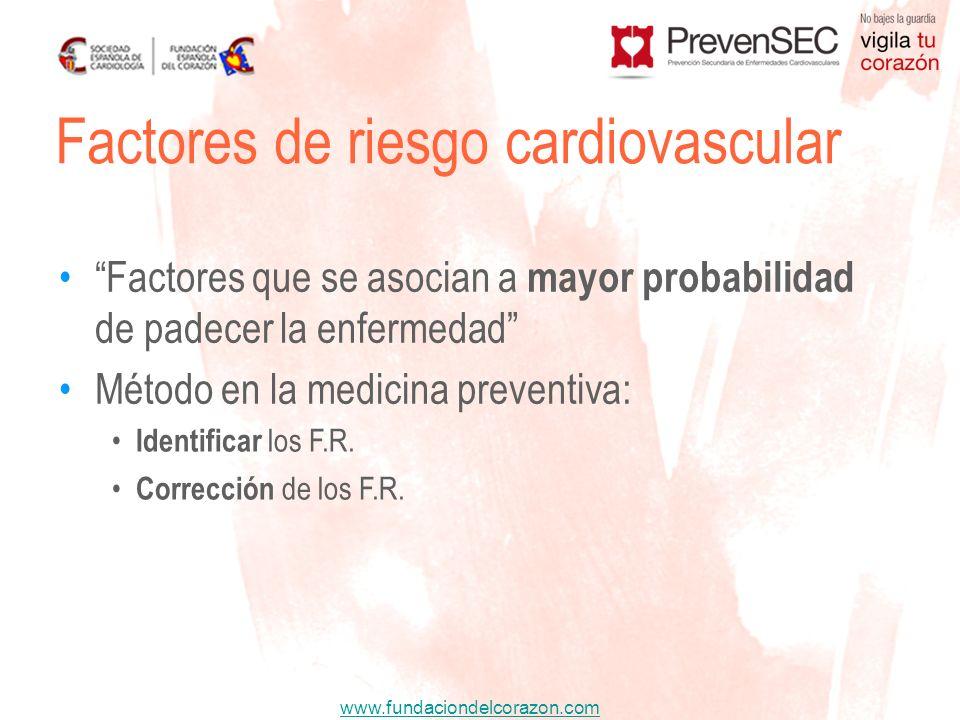 www.fundaciondelcorazon.com Factores de riesgo cardiovascular Factores que se asocian a mayor probabilidad de padecer la enfermedad Método en la medic