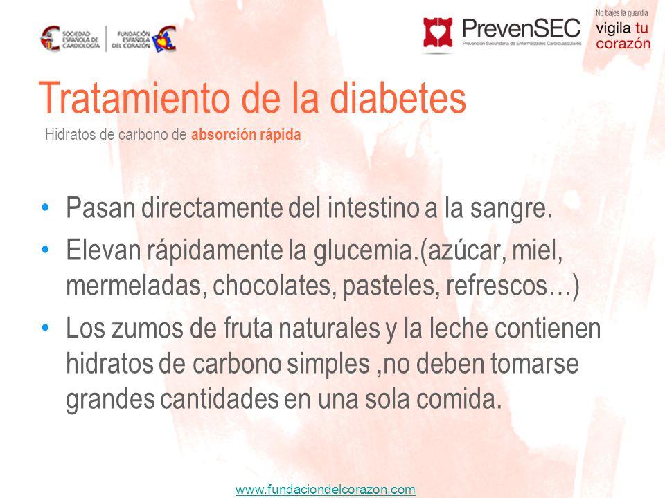 www.fundaciondelcorazon.com Pasan directamente del intestino a la sangre. Elevan rápidamente la glucemia.(azúcar, miel, mermeladas, chocolates, pastel