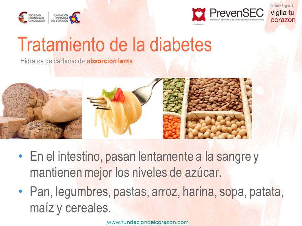 www.fundaciondelcorazon.com En el intestino, pasan lentamente a la sangre y mantienen mejor los niveles de azúcar. Pan, legumbres, pastas, arroz, hari