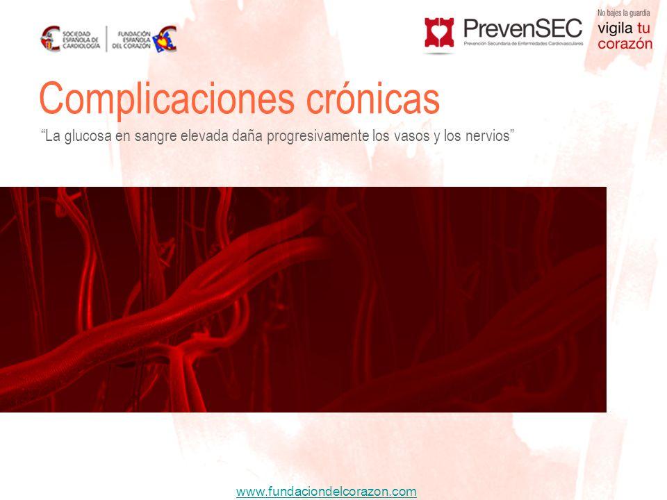 www.fundaciondelcorazon.com Complicaciones crónicas La glucosa en sangre elevada daña progresivamente los vasos y los nervios