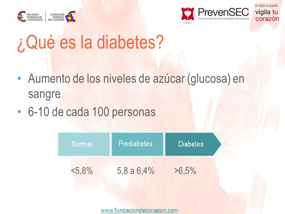 www.fundaciondelcorazon.com Aumento de los niveles de azúcar (glucosa) en sangre 6-10 de cada 100 personas ¿Qué es la diabetes? 6,5%