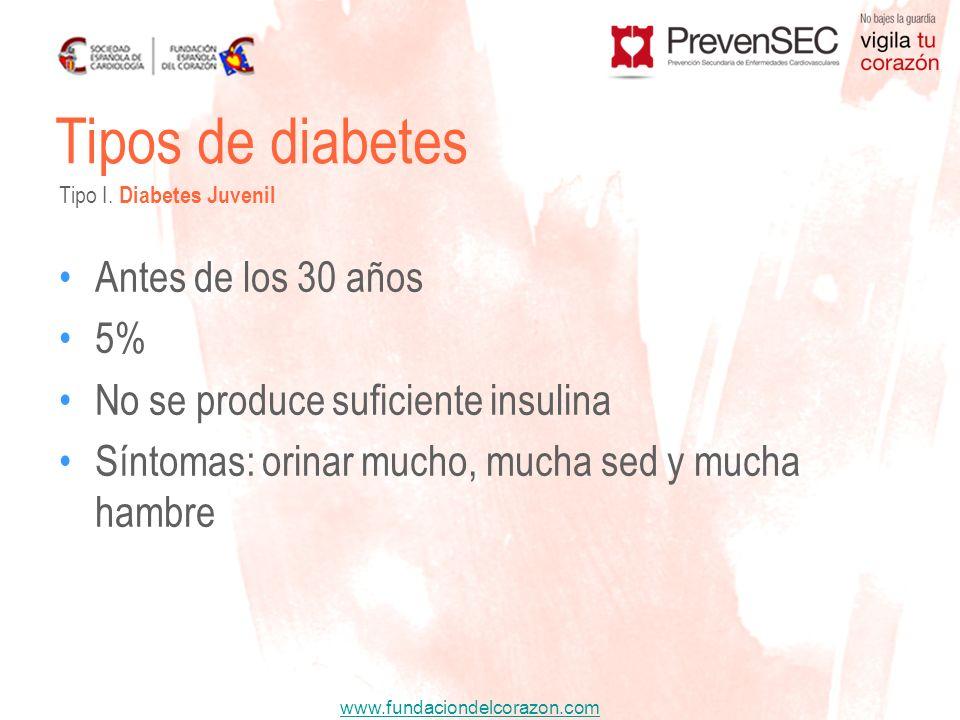 www.fundaciondelcorazon.com Antes de los 30 años 5% No se produce suficiente insulina Síntomas: orinar mucho, mucha sed y mucha hambre Tipos de diabet