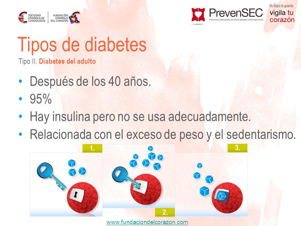 www.fundaciondelcorazon.com Después de los 40 años. 95% Hay insulina pero no se usa adecuadamente. Relacionada con el exceso de peso y el sedentarismo