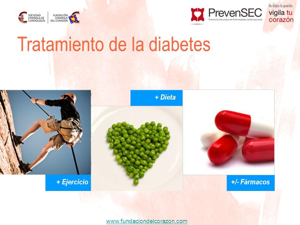 www.fundaciondelcorazon.com + Ejercicio + Dieta +/- Fármacos Tratamiento de la diabetes