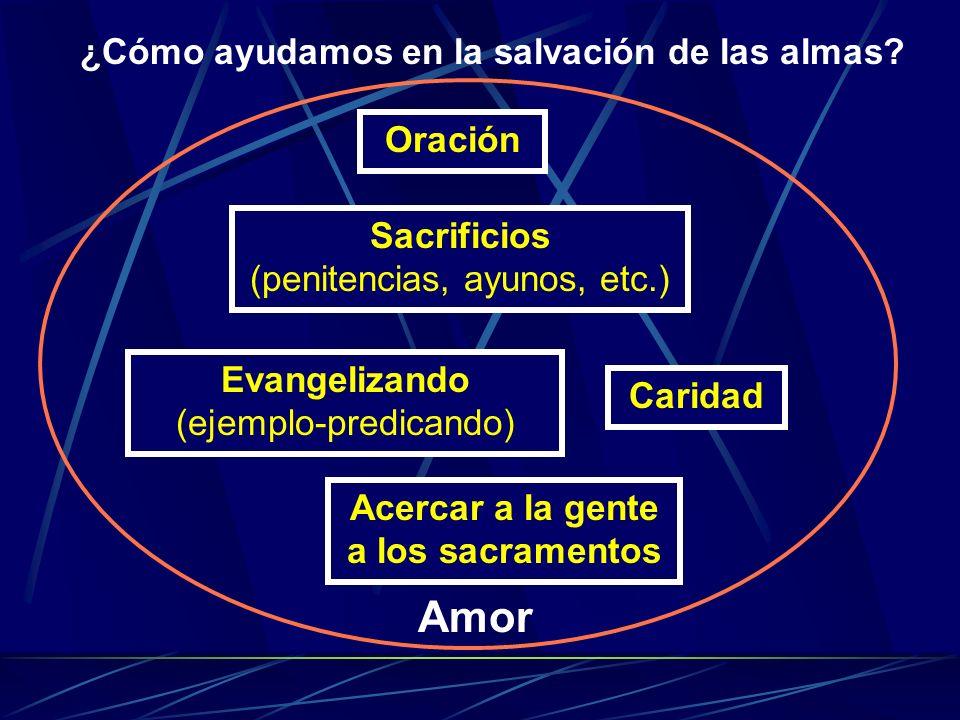 ¿Cómo ayudamos en la salvación de las almas? Oración Sacrificios (penitencias, ayunos, etc.) Evangelizando (ejemplo-predicando) Caridad Amor Acercar a