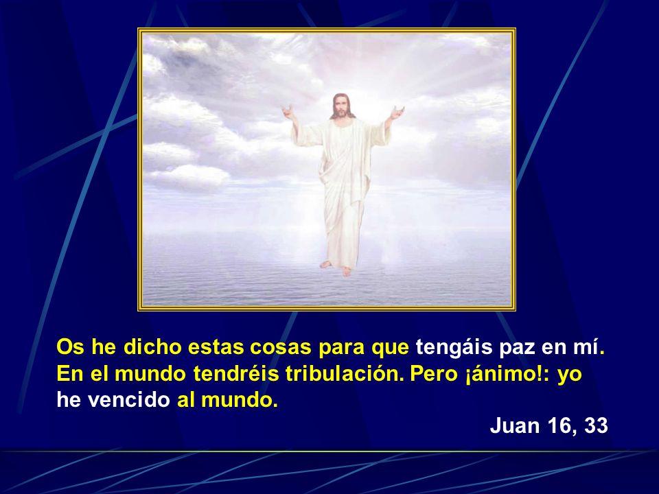 Os he dicho estas cosas para que tengáis paz en mí. En el mundo tendréis tribulación. Pero ¡ánimo!: yo he vencido al mundo. Juan 16, 33