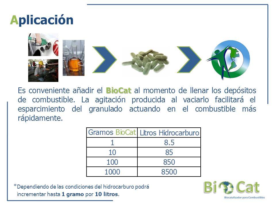 Aplicación BioCat Es conveniente añadir el BioCat al momento de llenar los depósitos de combustible. La agitación producida al vaciarlo facilitará el