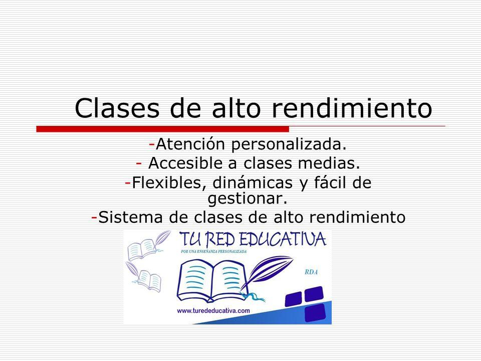 Ventajas del sistema de clases de alto rendimiento Grupos reducidos (max 5 alumnos) seleccionados por curso y nivel.