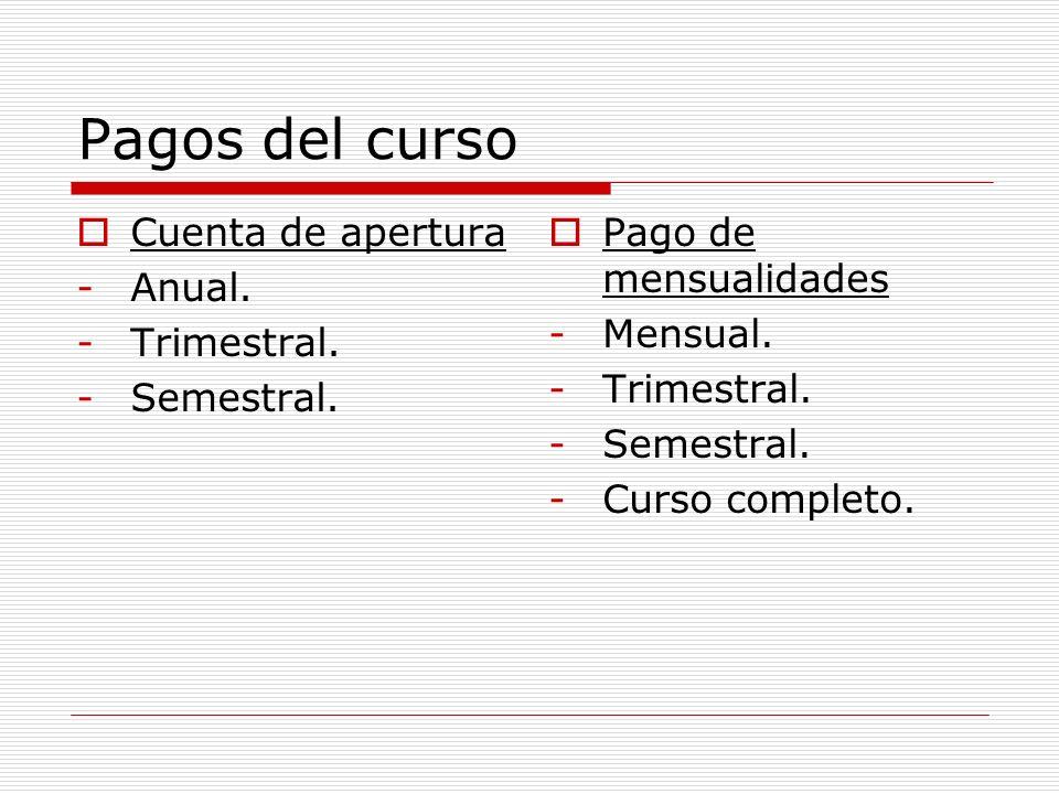 Pagos del curso Cuenta de apertura -Anual. -Trimestral.