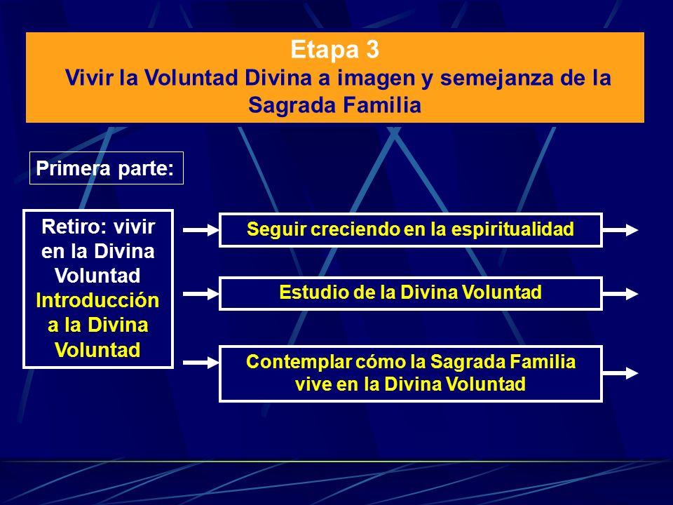 Etapa 3 Vivir la Voluntad Divina a imagen y semejanza de la Sagrada Familia Primera parte: Retiro: vivir en la Divina Voluntad Introducción a la Divin