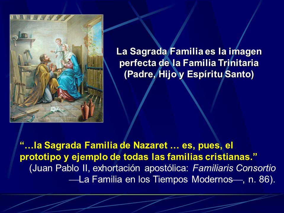 La Sagrada Familia es la imagen perfecta de la Familia Trinitaria (Padre, Hijo y Espíritu Santo) …la Sagrada Familia de Nazaret … es, pues, el prototi
