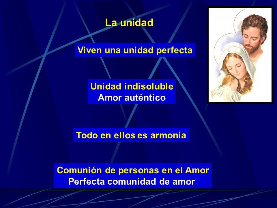 La unidad Viven una unidad perfecta Unidad indisoluble Amor auténtico Todo en ellos es armonía Comunión de personas en el Amor Perfecta comunidad de a