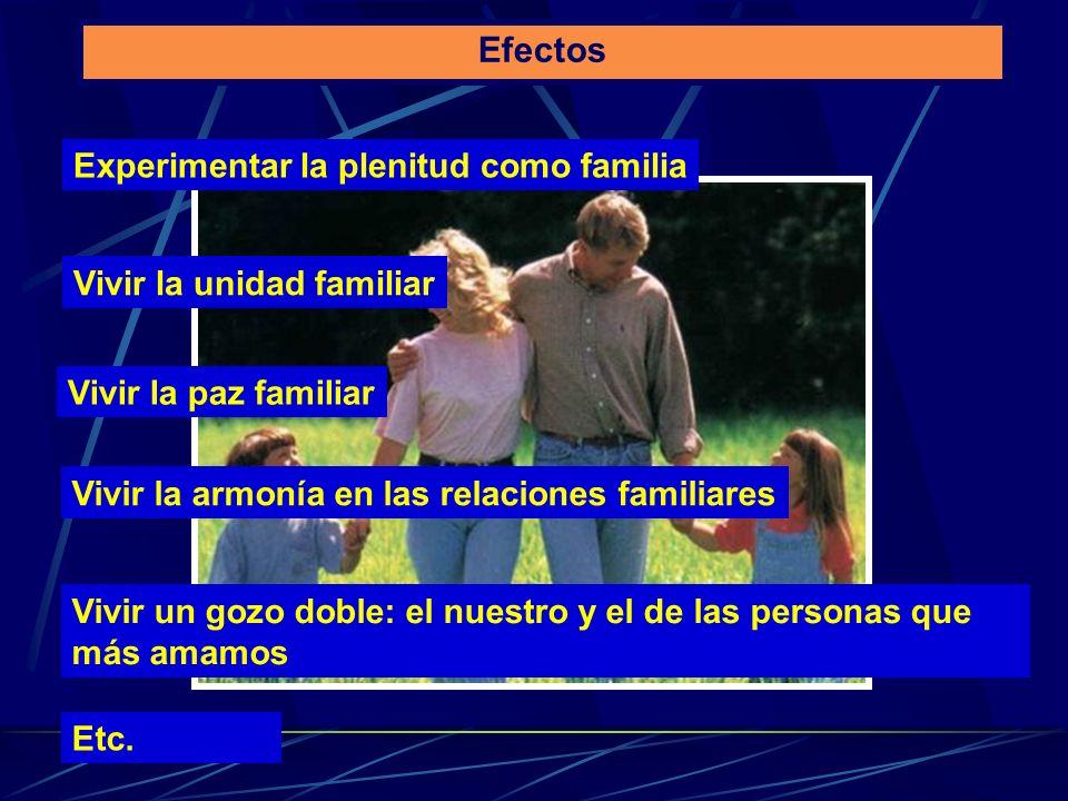 Efectos Experimentar la plenitud como familia Vivir la unidad familiar Vivir la paz familiar Vivir la armonía en las relaciones familiares Vivir un go