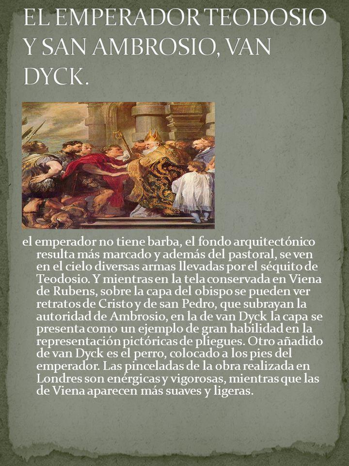 el emperador no tiene barba, el fondo arquitectónico resulta más marcado y además del pastoral, se ven en el cielo diversas armas llevadas por el séqu