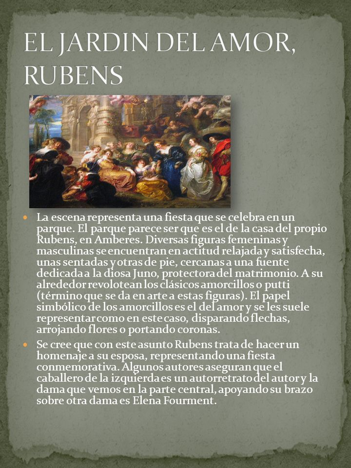 La escena representa una fiesta que se celebra en un parque. El parque parece ser que es el de la casa del propio Rubens, en Amberes. Diversas figuras