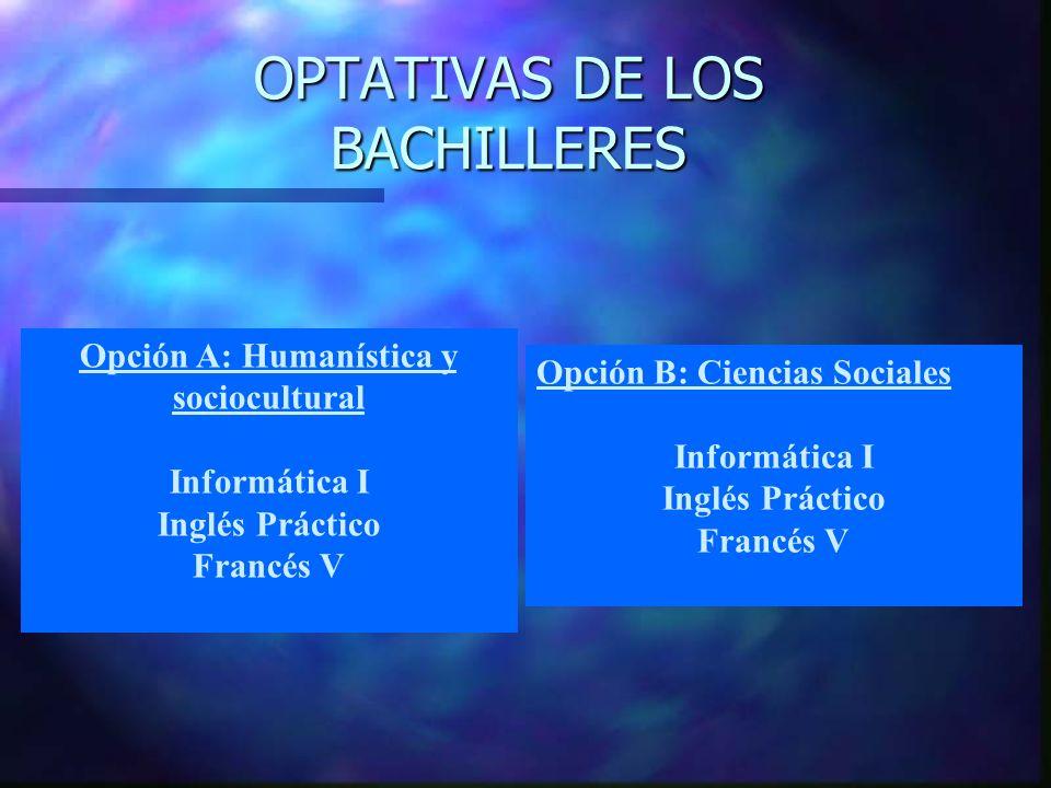 OPTATIVAS DE LOS BACHILLERES Opción A: Humanística y sociocultural Informática I Inglés Práctico Francés V Opción B: Ciencias Sociales Informática I Inglés Práctico Francés V