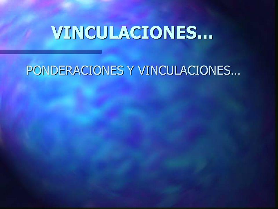 PONDERACIONES Y VINCULACIONES… VINCULACIONES…