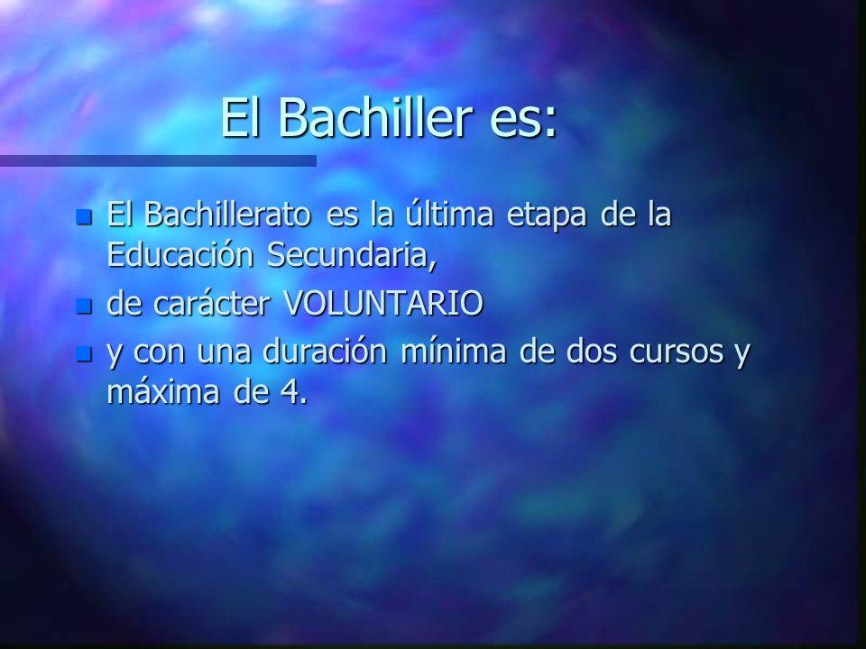 El Bachiller es: n El Bachillerato es la última etapa de la Educación Secundaria, n de carácter VOLUNTARIO n y con una duración mínima de dos cursos y