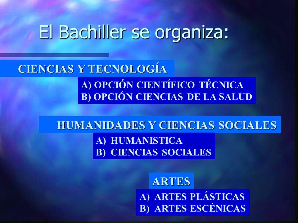 El Bachiller se organiza: CIENCIAS Y TECNOLOGÍA HUMANIDADES Y CIENCIAS SOCIALES ARTES A) OPCIÓN CIENTÍFICO TÉCNICA B) OPCIÓN CIENCIAS DE LA SALUD A)HUMANISTICA B)CIENCIAS SOCIALES A)ARTES PLÁSTICAS B)ARTES ESCÉNICAS