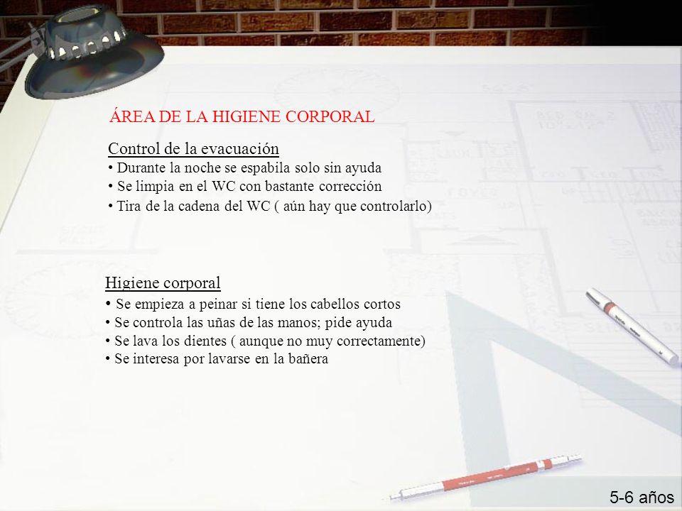 ÁREA DE LA HIGIENE CORPORAL Control de la evacuación Durante la noche se espabila solo sin ayuda Se limpia en el WC con bastante corrección Tira de la
