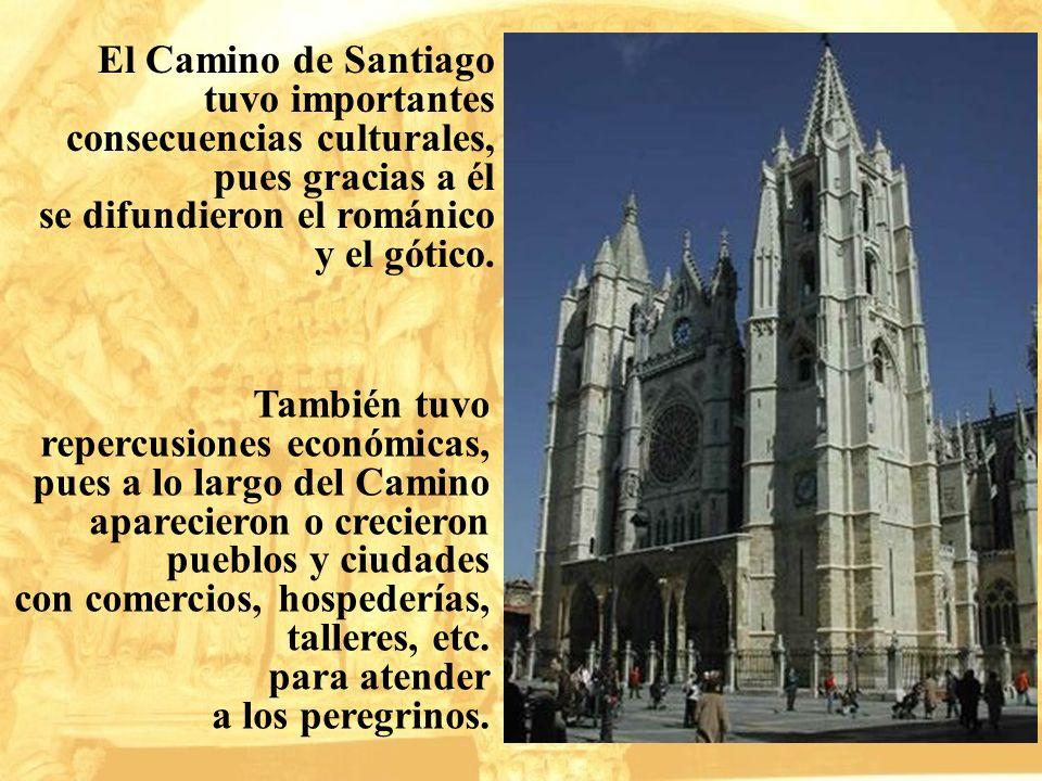 El Camino de Santiago tuvo importantes consecuencias culturales, pues gracias a él se difundieron el románico y el gótico. También tuvo repercusiones