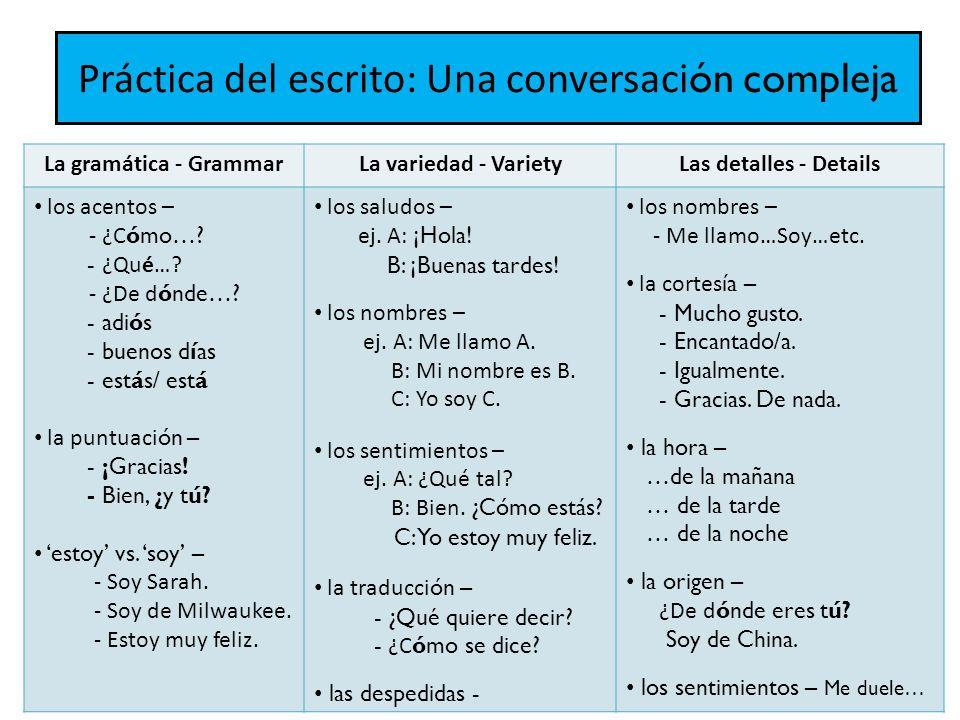 Práctica del escrito: Una conversaci ón compleja La gramática - GrammarLa variedad - VarietyLas detalles - Details los acentos – - ¿C ómo….