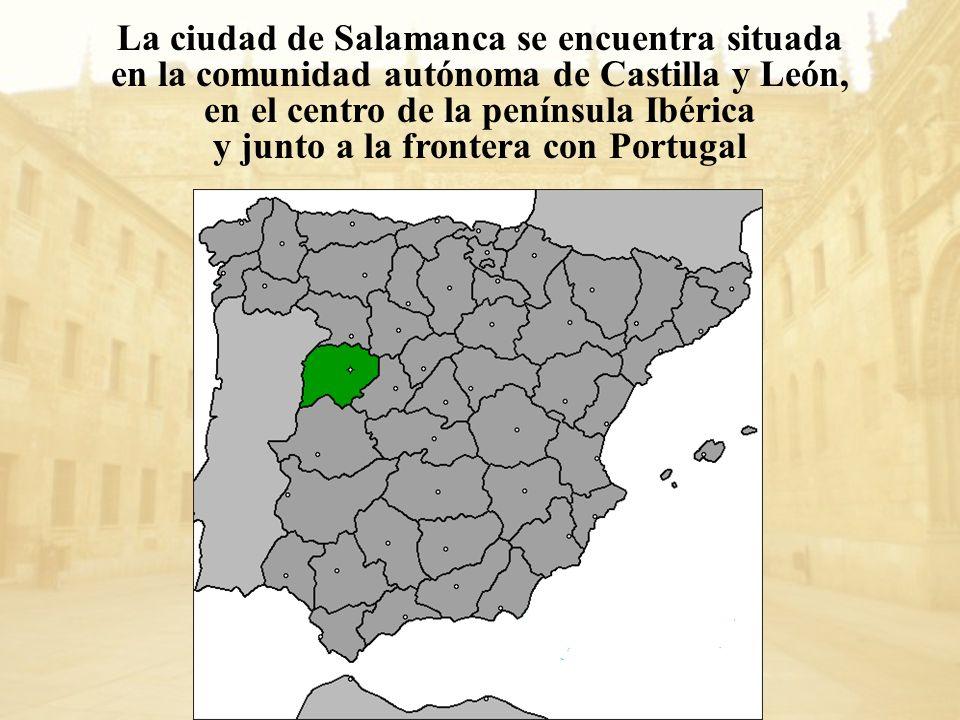 La ciudad de Salamanca se encuentra situada en la comunidad autónoma de Castilla y León, en el centro de la península Ibérica y junto a la frontera co