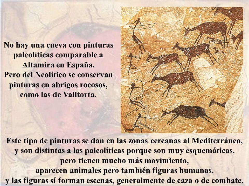 No hay una cueva con pinturas paleolíticas comparable a Altamira en España. Pero del Neolítico se conservan pinturas en abrigos rocosos, como las de V