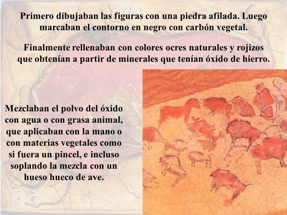 Primero dibujaban las figuras con una piedra afilada.