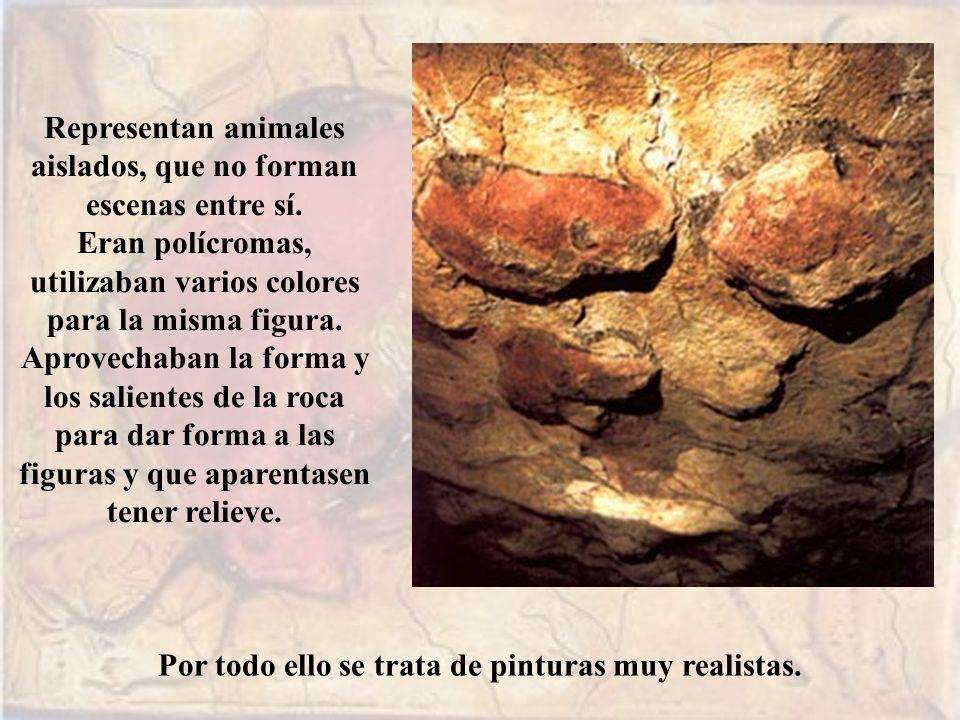 Representan animales aislados, que no forman escenas entre sí. Eran polícromas, utilizaban varios colores para la misma figura. Aprovechaban la forma