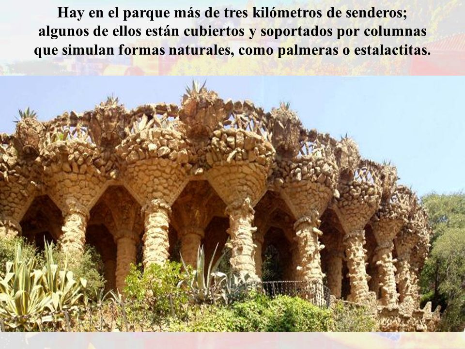 Hay en el parque más de tres kilómetros de senderos; algunos de ellos están cubiertos y soportados por columnas que simulan formas naturales, como pal