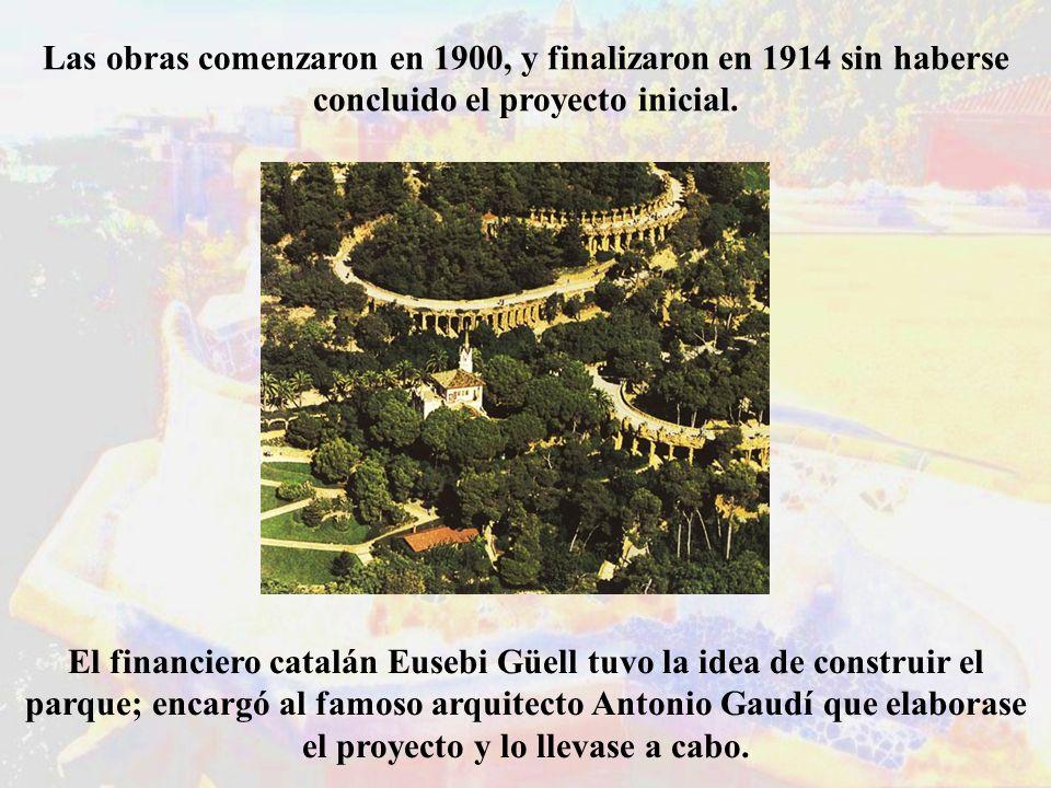 Las obras comenzaron en 1900, y finalizaron en 1914 sin haberse concluido el proyecto inicial. El financiero catalán Eusebi Güell tuvo la idea de cons
