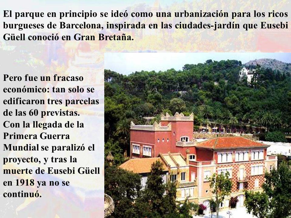 El parque en principio se ideó como una urbanización para los ricos burgueses de Barcelona, inspirada en las ciudades-jardín que Eusebi Güell conoció