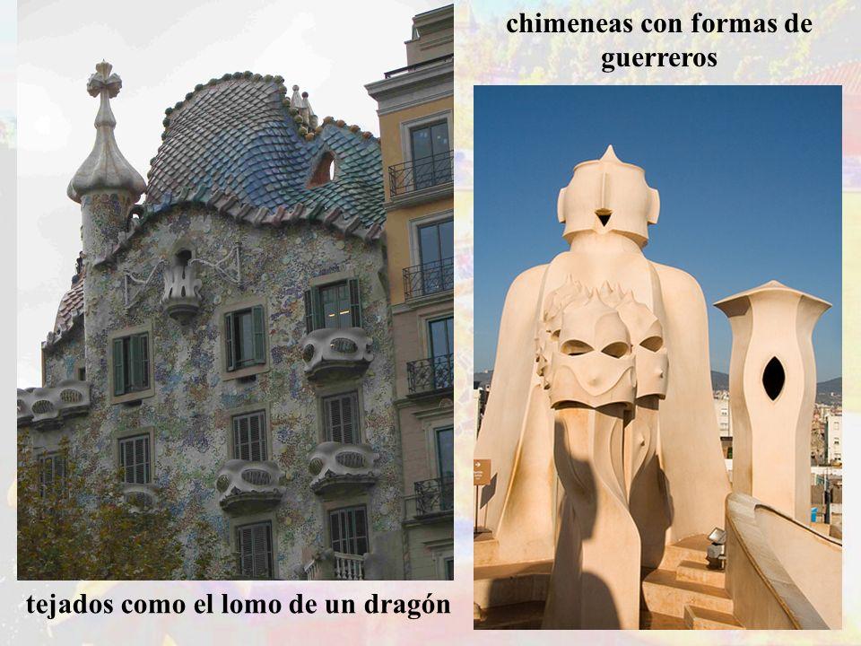 tejados como el lomo de un dragón chimeneas con formas de guerreros