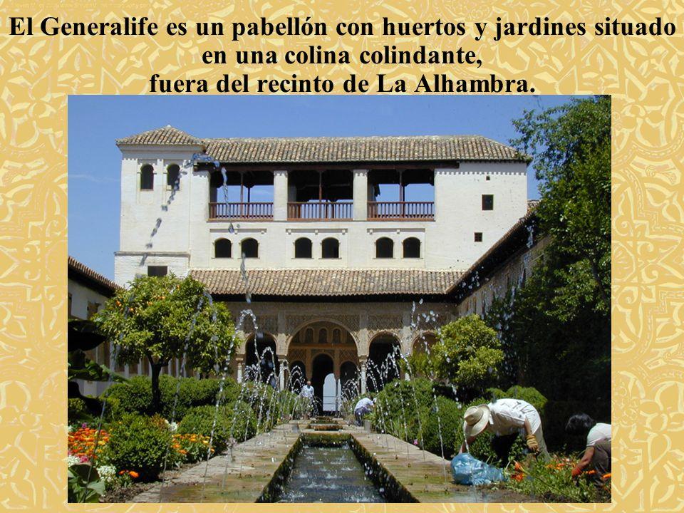 El Generalife es un pabellón con huertos y jardines situado en una colina colindante, fuera del recinto de La Alhambra.