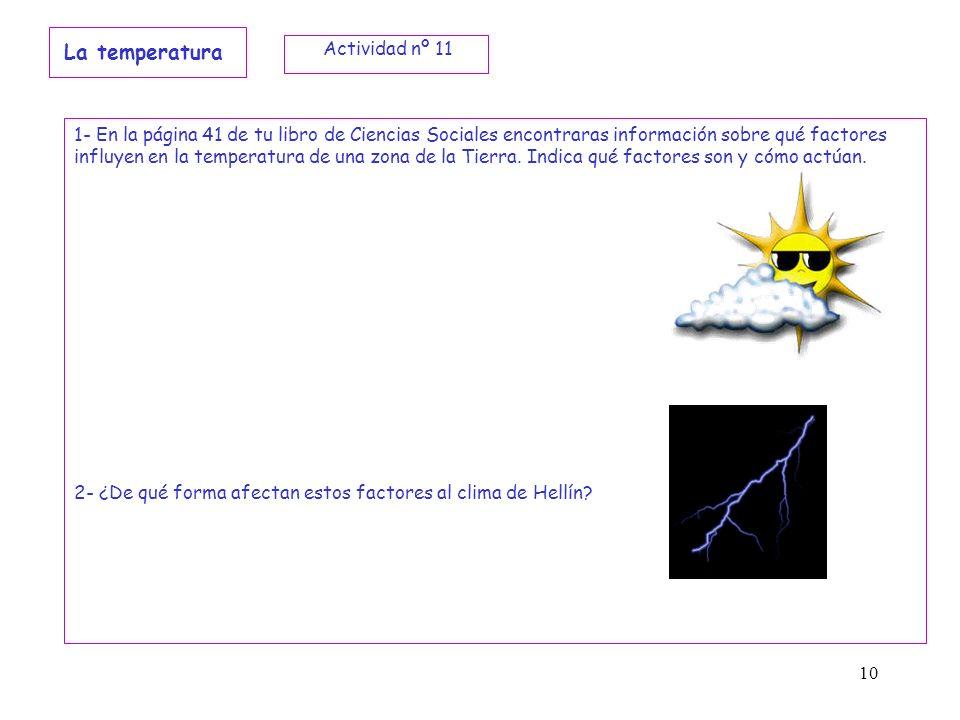 10 La temperatura 1- En la página 41 de tu libro de Ciencias Sociales encontraras información sobre qué factores influyen en la temperatura de una zon