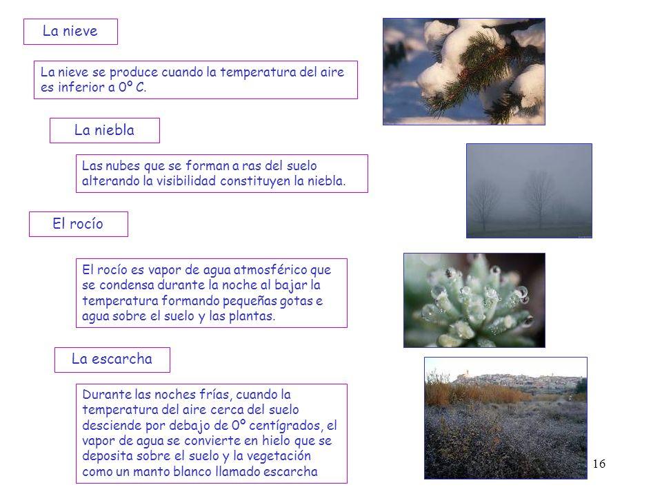 16 La nieve se produce cuando la temperatura del aire es inferior a 0º C. La nieve La niebla Las nubes que se forman a ras del suelo alterando la visi
