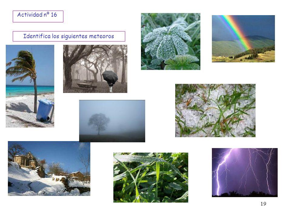 19 Identifica los siguientes meteoros Actividad nº 16