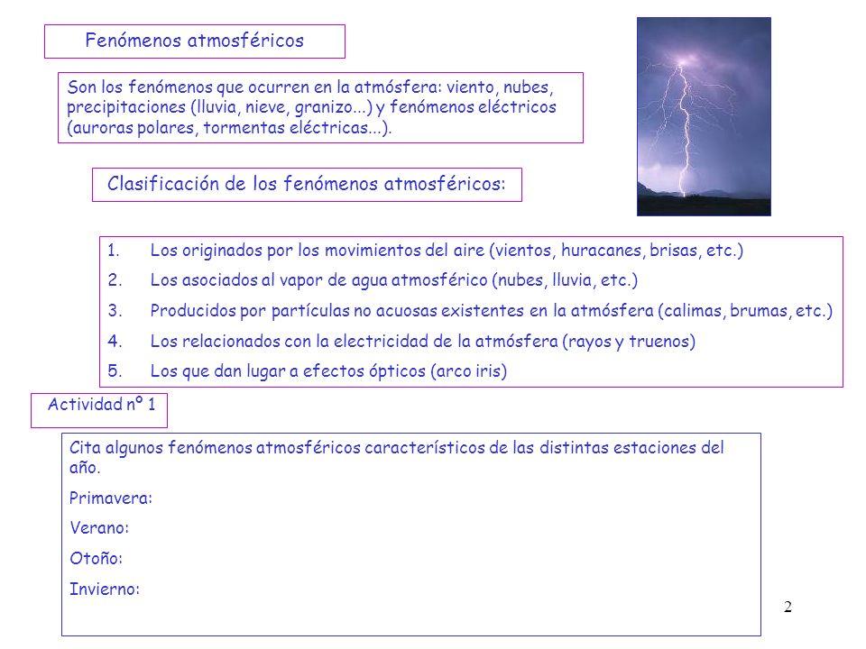 2 Son los fenómenos que ocurren en la atmósfera: viento, nubes, precipitaciones (lluvia, nieve, granizo...) y fenómenos eléctricos (auroras polares, t