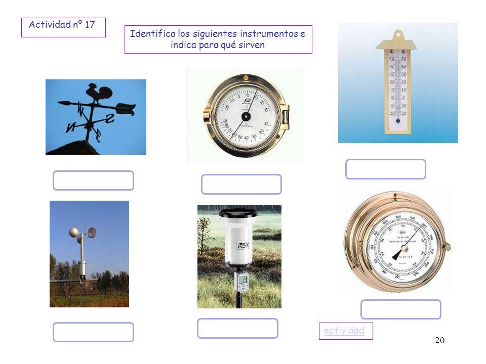 20 Identifica los siguientes instrumentos e indica para qué sirven Actividad nº 17 actividad