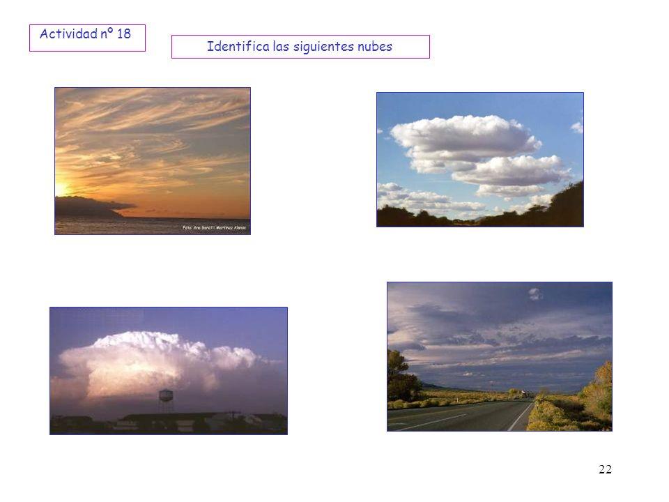 22 Identifica las siguientes nubes Actividad nº 18