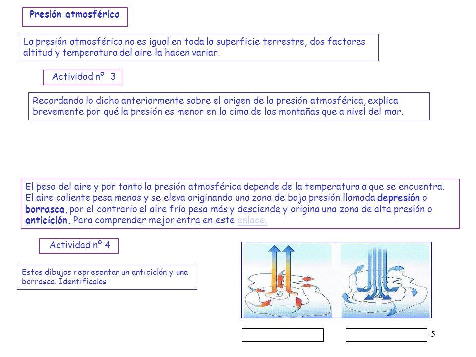 5 El peso del aire y por tanto la presión atmosférica depende de la temperatura a que se encuentra. El aire caliente pesa menos y se eleva originando
