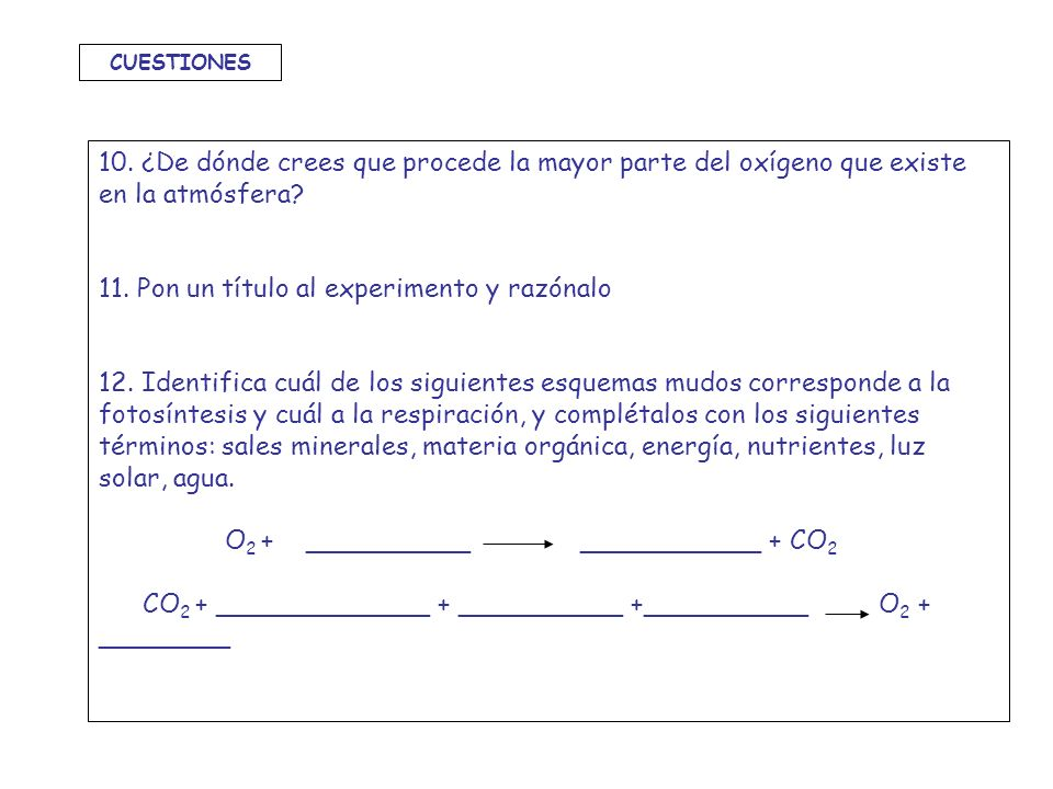 10. ¿De dónde crees que procede la mayor parte del oxígeno que existe en la atmósfera? 11. Pon un título al experimento y razónalo 12. Identifica cuál