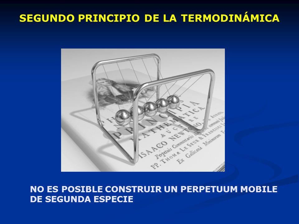 SEGUNDO PRINCIPIO DE LA TERMODINÁMICA NO ES POSIBLE CONSTRUIR UN PERPETUUM MOBILE DE SEGUNDA ESPECIE