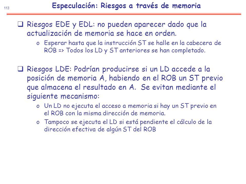 113 Especulación: Riesgos a través de memoria Riesgos EDE y EDL: no pueden aparecer dado que la actualización de memoria se hace en orden. oEsperar ha