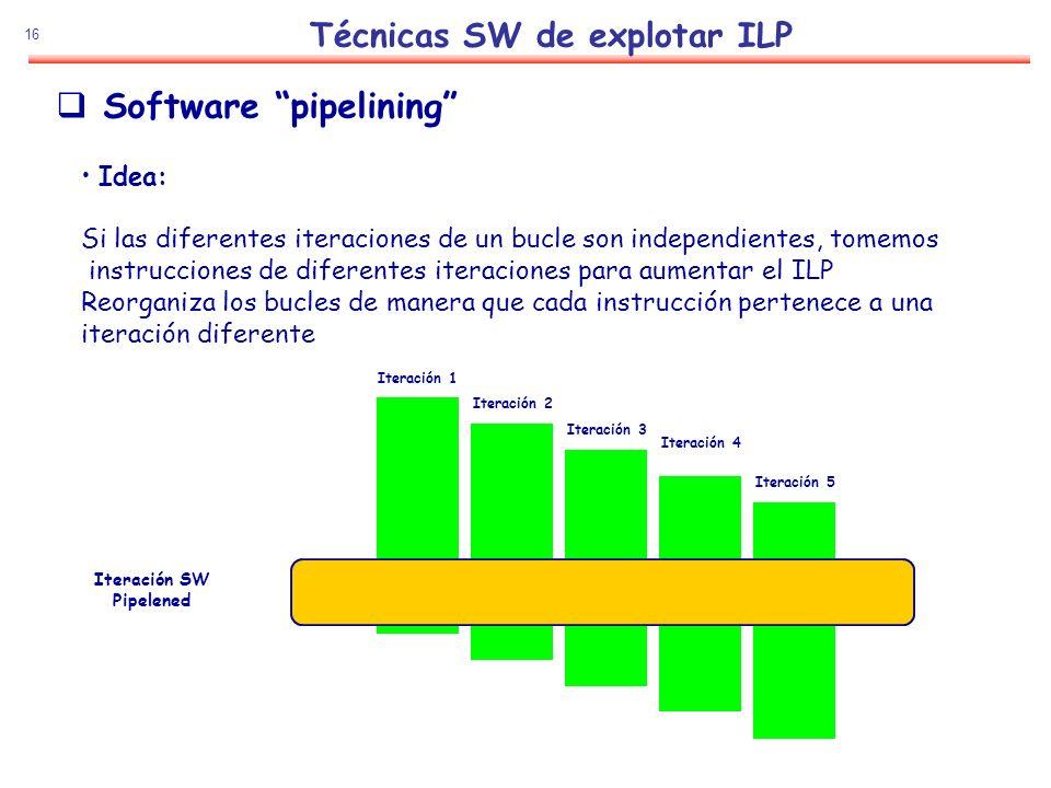 16 Técnicas SW de explotar ILP Software pipelining Idea: Si las diferentes iteraciones de un bucle son independientes, tomemos instrucciones de difere