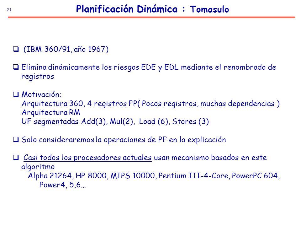 21 Planificación Dinámica : Tomasulo (IBM 360/91, año 1967) Elimina dinámicamente los riesgos EDE y EDL mediante el renombrado de registros Motivación